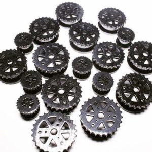 alargador aco preto engrenagem, alargadores em vários tamanhos.