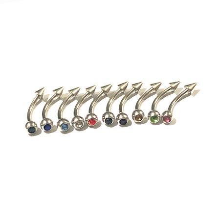 barbell curvo spike strass, para furos de umbigo ou sobrancelha.
