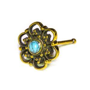 Piercing de Nariz Turquesa Flor Bronze, para furos nostril.