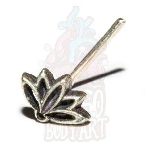 piercing de nariz prata flor lotus, para furos nostril em prata 925.