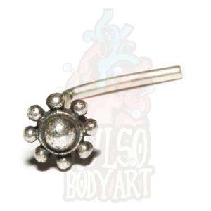 Piercing de Nariz Prata Flor Leilah, para furos nostril em prata 925.