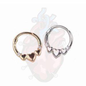 piercing septo coraçao heart gems clicker, para furos de septo.
