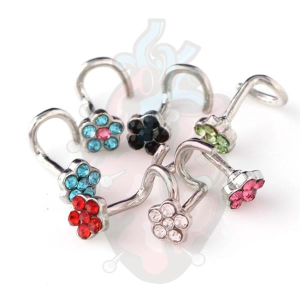 Piercing de nariz com flor de cristais, em modelo pino com todas as cores.