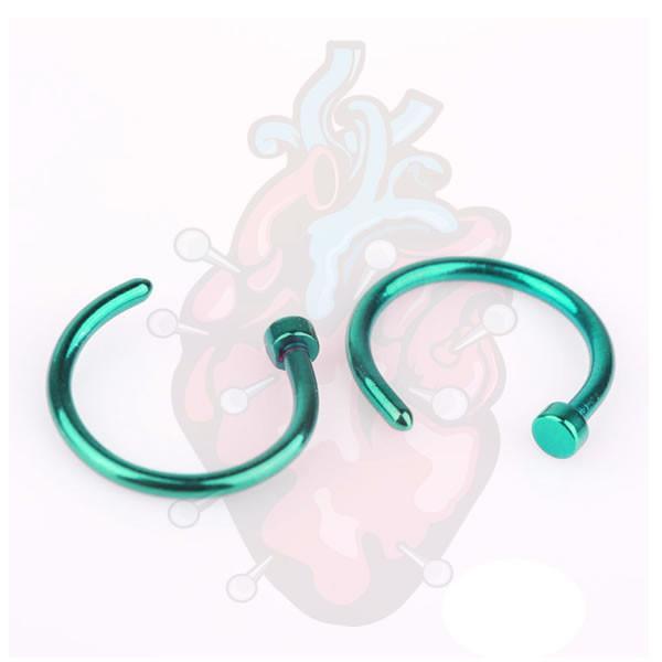 piercing Argola Nariz Titanio,para furos de nariz, na cor verde